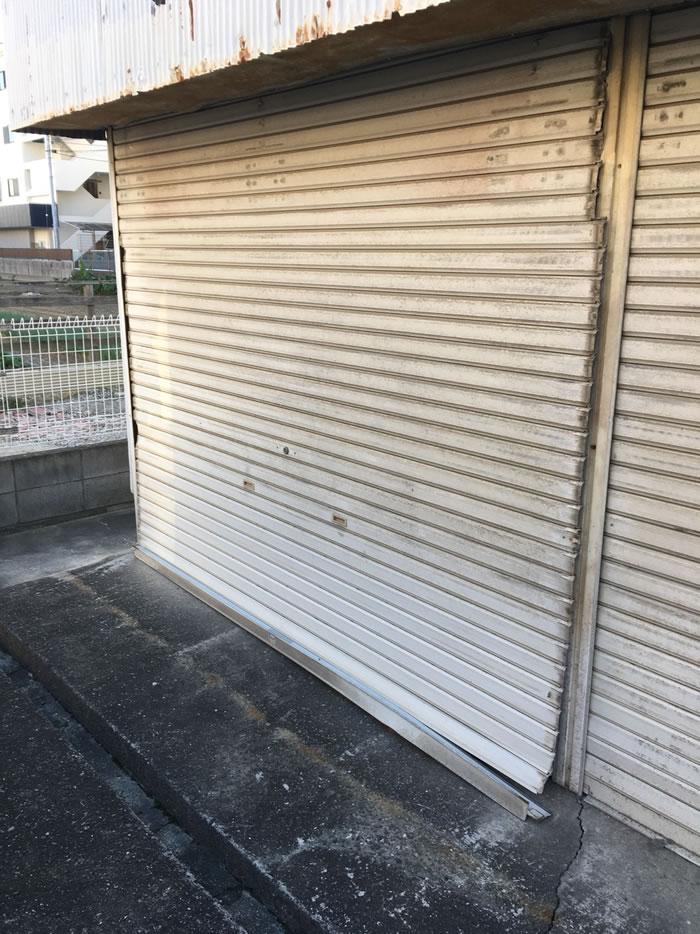 大阪市平野区G様集合ガレージシャッター飛び出し復旧工事01